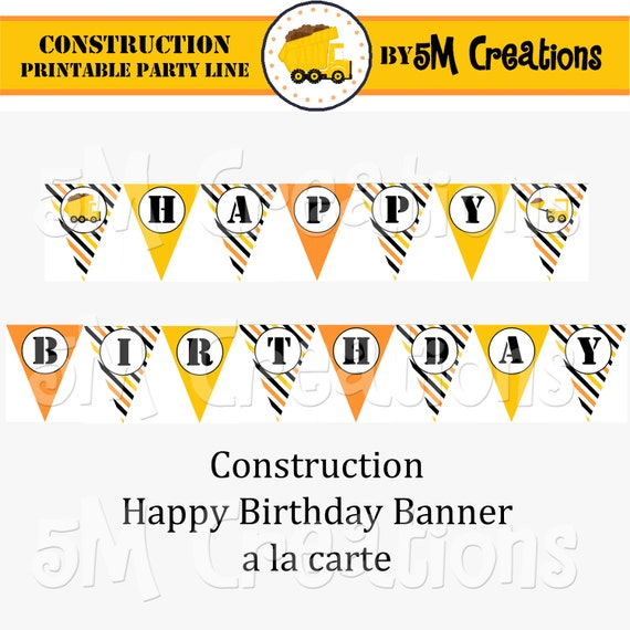 Printable Construction Party Banner Construction Happy