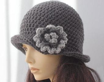 Crochet Gray Women's Hat,  Flower Cloche Hat,  Flapper Hat, Bucket Hat,  Winter Hat,  1920's Style  Hat, Made to Order
