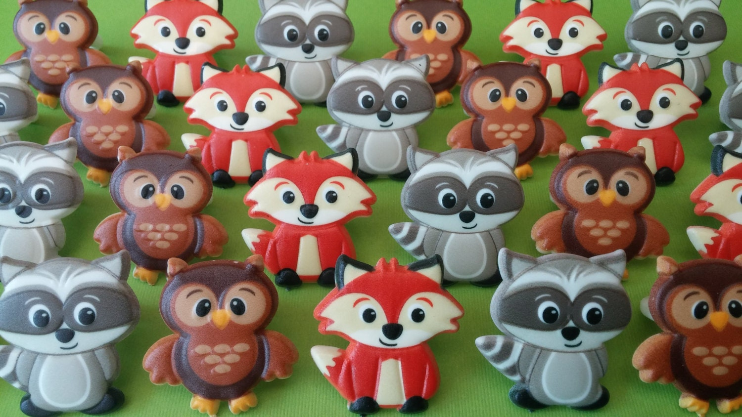 24 Woodland Creature Cupcake Cake Topper Rings Party Favors