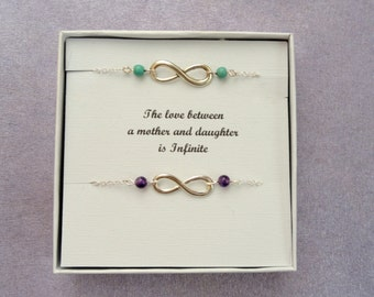 Mother daughter gift, Two infinity bracelets, Silver infinity bracelet, Infinity bracelet, Silver bracelet, Infinity jewelry, Gifts