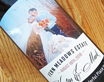 Personalized Photo Wine Labels with Your Photo, Set of 18