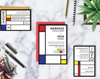 Mondrian Wedding Invitation Suite - Printable Wedding Invitation Suite, DIY Wedding Invitation, Modern Wedding, Modern Art, Museum Wedding