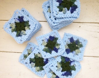 Crochet Granny Square, blue squares, crochet afghan squares, ready to ship, hand crochet, granny squares for sale,