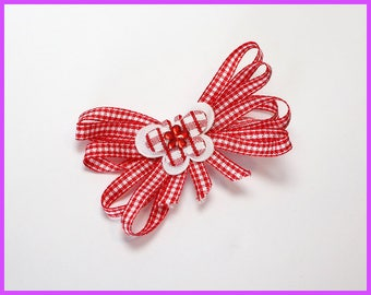 Red and White Checkered Butterfly Hair Clip