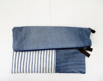 Recycled denim bag / Clutch bag / Cosmetic bag / Denim pouch / Antique ticking and recycled denim / Denim purse