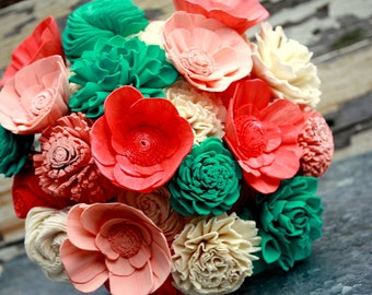 Sola flower bouquet, brides wedding bouquet, coral, teal, aqua, peach wedding flowers, rustic bouquet, alternative keepsake, bridal flowers