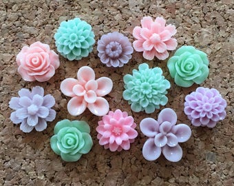 Flower Thumbtacks or Magnets Set of 12 - (#234) dorm decor, hostess gift, weddings, bridal shower, baby shower, gift, teacher gift
