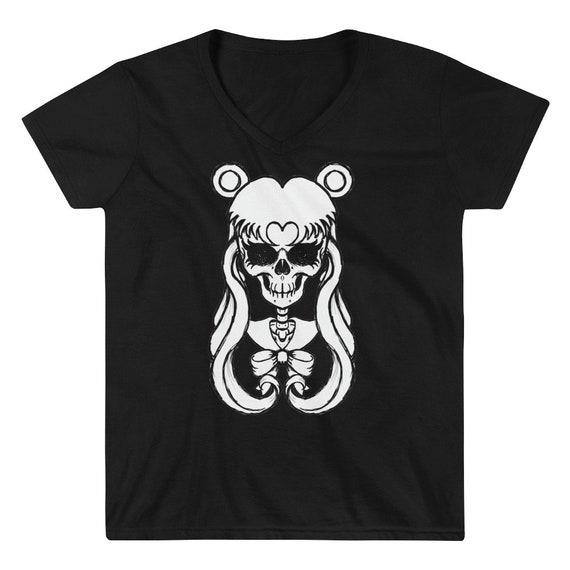 Sailor Moon Skull Women's Casual V-Neck Shirt