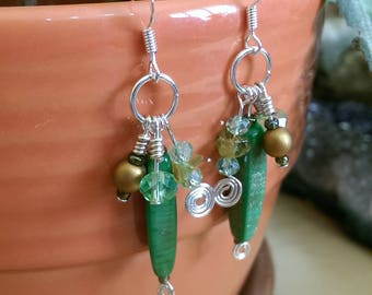Hand-crafted Glass Czech Peridot Bead Earrings SS Sterling Silver