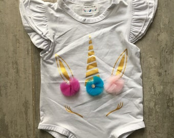 Unicorn Onesie Romper Jumpsuit One-Piece Outfit Baby Girl Newborn Infant Pom-Pom Rhinestone 6-12 Months
