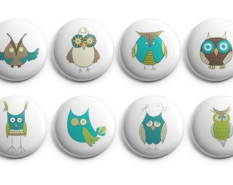 Owl buttons - Owl magnets - owl , funny owls, owl cartoon buttons, owl pins, owl fridge magnet, funny owls, Set of 8