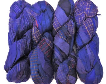New! Premium  Iridescent Printed Sari Silk  Ribbon yarn , 100g (50 yards) color Amethyst/yellow print