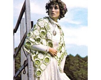 Crochet Shawl Pattern Vintage Flower Motif Shawl, Rose Evening Wrap Pattern Womens PDF Instant Download C192