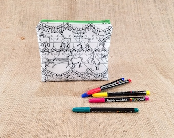 Llama Coloring Pencil Case, Llama gifts, Llama Bag, Llama Zipper Pouch, DIY Tween Gift, Marching Band Gift, Music Teacher Gift, Pencil Pouch