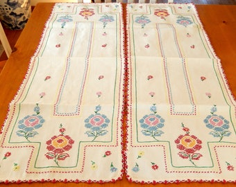 2 hand embroidered table runners, vintage table linens, cross-stitch, home decor