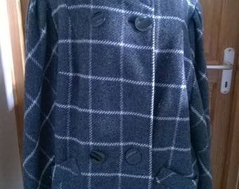 Gray and white vintage oversize Plaid wool blanket