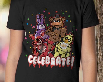 New FNAF Five Nights at Freddy's Pizzeria Celebrate! Youth Kids Shirt and Toddler Shirt Sizes