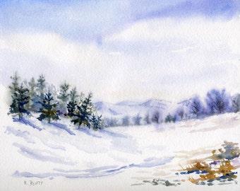Winter Landscape ~ Watercolor Snow Scene ~ Digital download print of a snowy winter landscape in watercolors.