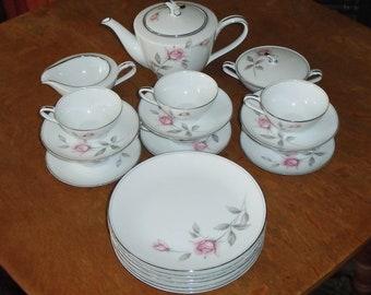 23pc Noritake China 6044 Rosemarie Luncheon Coffee Tea Set w Pot, Coffee Cups, Saucers & Plates