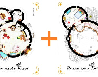 Floorplans of Rapunzel's Tower from TANGLED