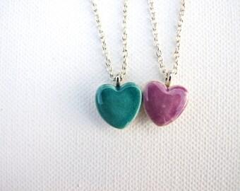 Tiny Heart necklace, ceramic turquoise crackle glaze or purple glaze