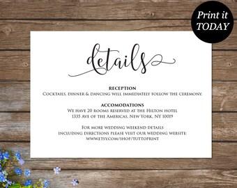 Wedding Details Printable Card, Customizable Wedding Information Card, Enclosure Wedding Card, Rustic Wedding, Editable Template, AMBR_DC