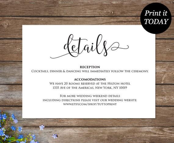 Wedding details printable card customizable wedding stopboris Images