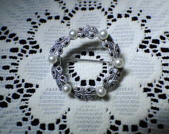 Marcasite and Pearl round brooch pin, vintage brooch pin, repaired by me, 1.25 inch diameter, genuine Marcasite and Pearls