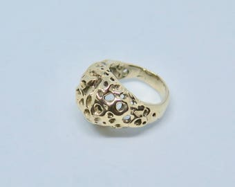 14k Solid Gold Coral Ring