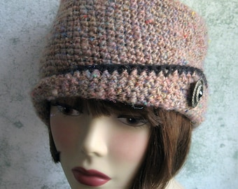 Crochet Pattern Womens Crochet Hat With Close Fitted Brim And Button Trim Instant Download