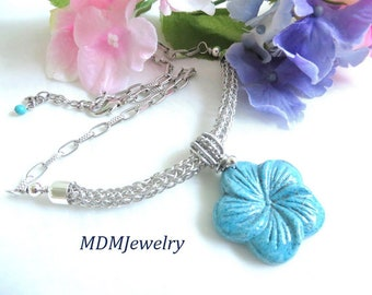 Viking knit jewelry, blue necklace, Carved stone flower, Simple statement, Turquoise blue stone, Something blue, Gift for her, Throat chakra