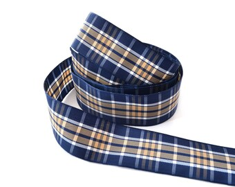 Plaid blue and beige wide satin ribbon 25 mm