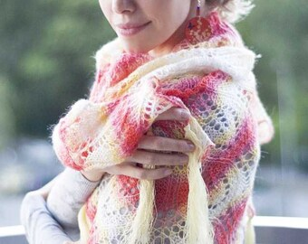 Hand knitted shawl in summer colors wedding red cream yellow