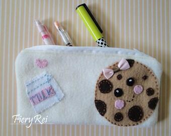 Chocolate Chip Cookie and Milk Pouch, Cute Zipper Pouch, Pencil Pouch, Makeup Pouch, Pencil Case