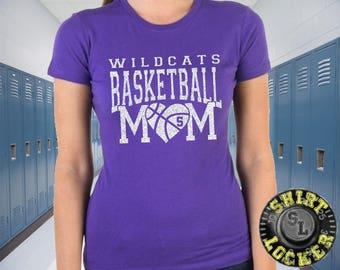 Fully Custom Basketball Mom Glitter Design Womens Soft Style Cotton Tee Shirt Spirit Wear Glitter Bling Design Any color combination Mother