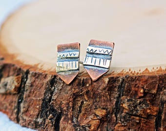 Tapestry Stud Earrings, Copper and Silver
