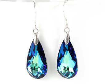 Teal peacock earrings, teal peacock jewelry, teal earrings, teal jewelry, tear drop earrings, peacock tear drop, modern earrings peacock