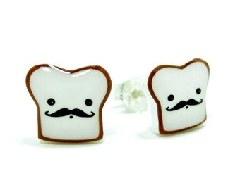 French Toast Earrings | Sterling Silver Posts Studs | Moustache | Gifts For Her