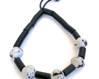 Black and White Bracelet - Mens Beaded Bracelet - Repurposed