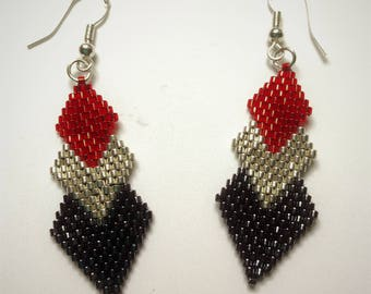 gift idea, novelty earrings ethnic triangle new Miyuki beads