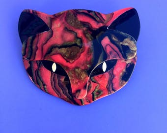 Signed Lea Stein Cat Face Brooch - Pink