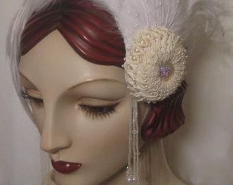 Feathered Kanzashi Wedding Headpiece