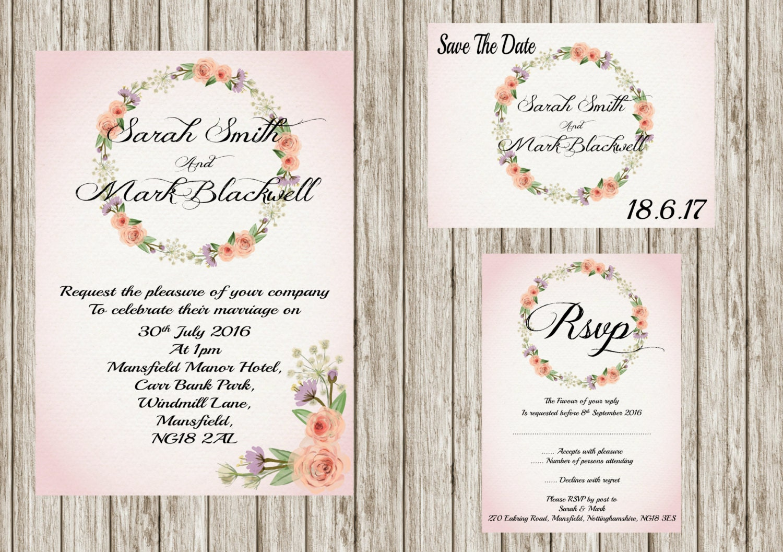 Floral wreath, Printable wedding invitation set, Floral wedding ...