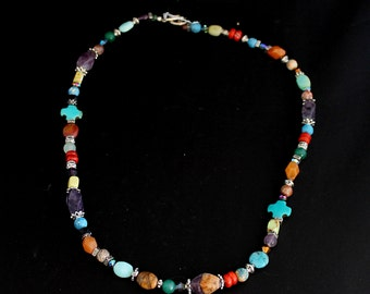 Multi Colored Semi Precious Stone Necklace