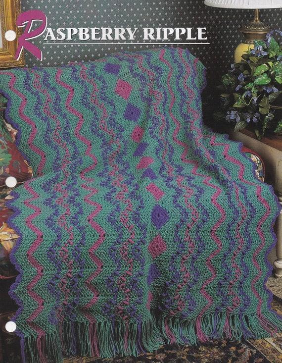 Raspberry Ripple Annie\'s Attic Crochet Quilt and Afghan
