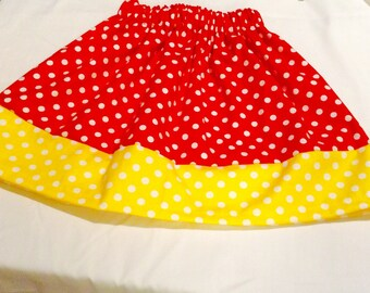 Sale, MINNIE INSPIRED Kids SKIRT, Polka dot Little Skirt, Red and yellow. Great Gift Idea, Pretty party skirt, birthday, school skirt .