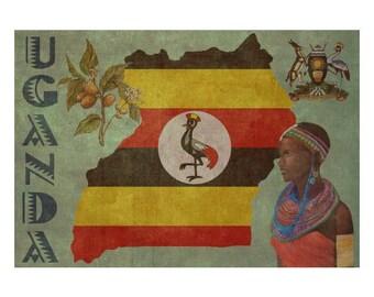 UGANDA 1FS- Handmade Leather Journal / Sketchbook - Travel Art