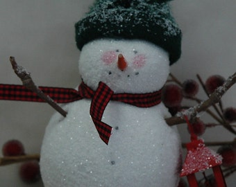 Folk Art Snowman with Lantern (X-SM-LANTERN)