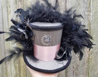 Mini top hat, steampunk, wedding, mardi gras, mini top hat with lights