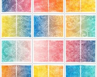 Distressed Damask Digital Printable Art Journal Papers Instant Download Set of 12 - 11 x 8.5 inch JPEG & PDF Orange Blue Yellow Pink 1806